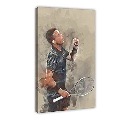 Poster sportivo HD con giocatore di tennis Roberto Bautista Agut, in tela, decorazione per camera da letto, paesaggio, ufficio, decorazione regalo, 60 x 90 cm