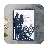 10pcs花嫁と花婿カット結婚式の招待カード愛の心のグリーティングカードバレンタインデーの結婚披露宴の好意の装飾-Blue Cover and inner-