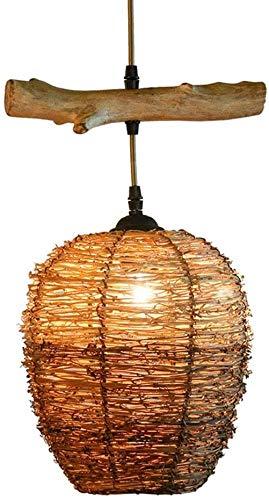 GaLon Geweven Hanglamp Bamboe Kroonluchter Rustieke Retro Plafondlamp Wijnstokken Lampenkap E27 In Hoogte Verstelbare Enkele Kop Hanglamp Woondecoratie Voor Café Bar