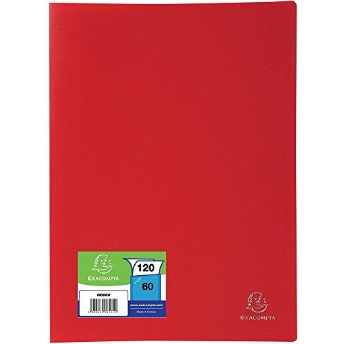 Exacompta 8565E - Carpeta de 60 fundas PVC, A4, color rojo