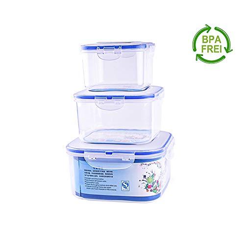 Erlliyeu - Set di 3 contenitori ermetici per alimenti, per microonde, congelatore e lavastoviglie quadrato