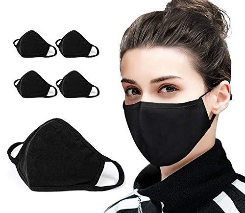 5 mascherine in cotone anti-polvere, unisex, a 2 strati, riutilizzabili e lavabili (confezione da 5, colore nero), alla moda, Regno Unito