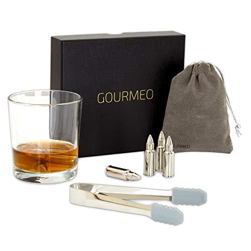 GOURMEO Whisky Steine (6 Stück) aus Edelstahl in Patronenform I wiederverwendbare Eiswürfel, Whiskysteine, Whisky Stones, Kühlsteine