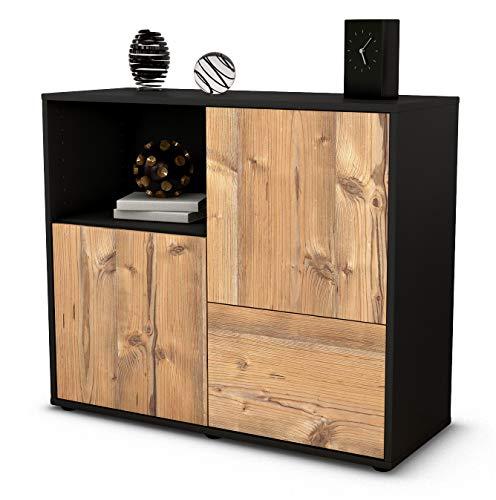 Stil.Zeit Sideboard Carina/Korpus anthrazit matt/Front Holz-Design Pinie (92x79x35cm) Push-to-Open Technik