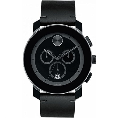 Movado Men's 43mm Black Calfskin Band Steel Case Swiss Quartz Watch 3600337