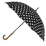 Agaric Classic Wooden Hook Handle J Stick Umbrella Auto Open Windproof Umbrella for Women (Black)