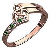GWG Jewellery Anillos Mujer Regalo Anillo Celta Plata de Ley Chapado en Oro Rosa 18K Adornado con Nudo de la Trinidad y Cristales de Color Esmeralda Verde - 5 para Mujeres