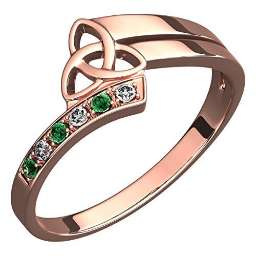 UPCO Jewellery Anillo Chapado en Oro Rosa 18Q, Triquetra Celta subrayada con...