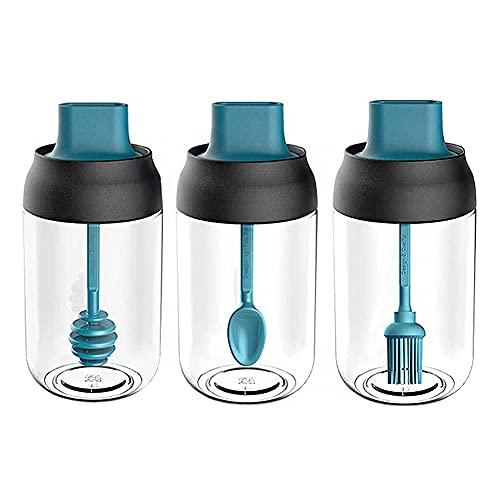 3 Piezas Tarros de Especias, Vidrio Botella Condimento, Tarros de Especias Cristal, Tarros de Especias Redondos, para Sal, Azúcar, Aceite, Miel, Dispensador (Azul)