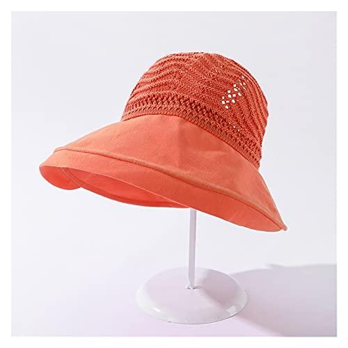 Sombreros De La Moda De Las Mujeres De Verano Solar CAP UV Playa Sun Visor Ancho Rolling Rolling Floppy Plate (Color : Orange, Size : 56 58cm)