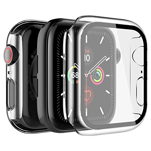 LK Custodia Compatibile per Apple Watch Series 6/SE/5/4 40mm Pellicola Protettiva, [2 Pezzi] Cover Rigida Vetro Temperato per Apple Watch Series 6/SE/5/4 40mm - Trasparente