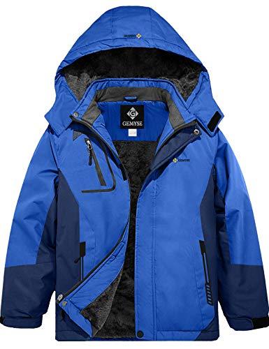 GEMYSE wasserdichte Skijacke für Jungen Winddichte Fleece-Winterjacke mit Kapuze (Blaue Marine,6/7)