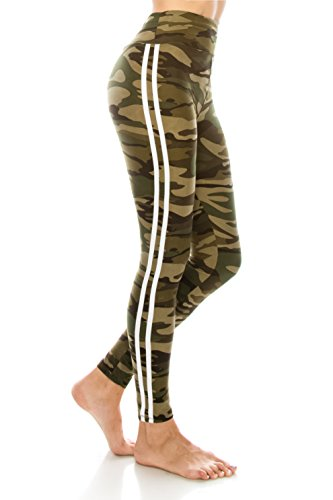 ALWAYS Women's High Waist Yoga Leggings - Camo Military Army Print Premium Soft Stretch Workout Pants One Size