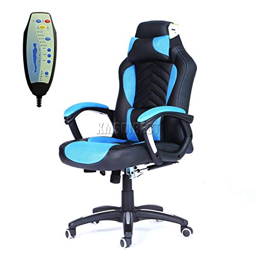 WestWood New Heated Massage Gaming Office Chair | Reclining Home Computer Swivel Seat | orthopedic Lumbar Support Recaro Racing Chair | Black & Blue – MC09