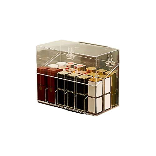 Prasacco Soporte para lápiz labial acrílico 9/15/18/26 espacios, organizador de lápiz labial con tapa transparente para lápiz labial, pinceles, brillos de labios, botellas