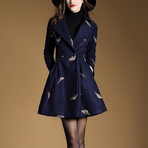 Gaoxu-Frauenkleidung GX Stoff/Damen bestickter Mantel/mittlerer länge Mantel mädchen,Navy Blue,l
