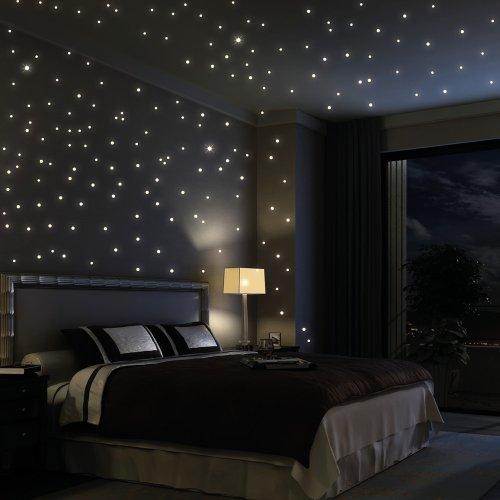 Wandtattoo Loft Sternenhimmel 203 fluoreszierende Leuchtpunkte (inkl. 3 Leuchtsternen) – fluoreszierend selbstklebend - Wandsticker mit langer Leuchtkraft (leuchten im Dunkeln), ideal für Kinderzimmer und Schlafzimmer!