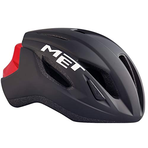 Met-Rx Strale, Casco da Bicicletta. Unisex-Adulto, Nero e Rosso, S