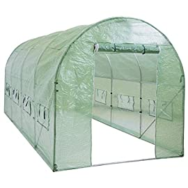 Best Choice Products 15x7x7ft Walk-in Greenhouse Tunnel Tent Gardening Accessory w/Roll-Up Windows, Zippered Door, Green 1 PROTECTION FROM THE ELEMENTS: Consolidate all of your plants in a single, protected area that helps you to grow and manage plants year-round and shield fruits, vegetables, and flowers from harsh elements PLANT VARIETY: Helps you to grow a wider variety of plants that may not be native to your community through a warmer, more humid environment that promotes the growth of warm season and climate plants HEAT AND LIGHT MANAGEMENT: Zippered door and 8 roll-up windows with screens help to manage the amount of heat and light that enter the greenhouse to control your gardening experience
