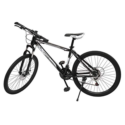 Ahageek Mountain Bike, 26 Inch 21 Speed Full Suspension Stylish Mountain Bicycle with Double Disc Brakes and Ride Bag, Black + White