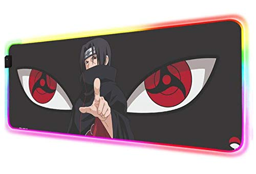 Alfombrilla de Ratón Naruto Anime RGB, Ojos Hermosos, Grandes Led para Juegos, Ordenador Portátil, Teclado de Oficina, Alfombra, Alfombrilla de Escritorio, 600X300X4 mm