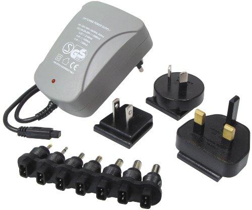 Transmedia NTT11L - Cable de alimentación para Viajes (2500 mA, 100-240 V, 3, 3.3, 5, 6, 6.5, 7, 8.4 V, con 7 Clavijas y adaptadores a enchufes británicos, norteamericanos, australianos y Europeos)