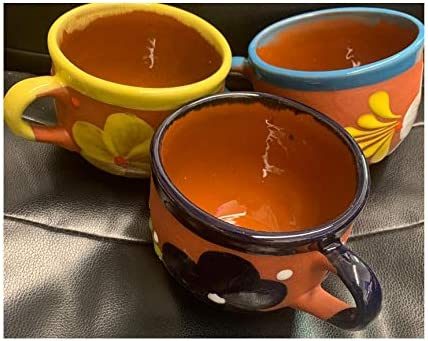 popular 5 Mexican Flower design Cazuela de 2021 Barro Cerealero Grande Large Cereal Bowls Coffee Mug Traditional Clay Party Breakfast Dish Engobe Made sale in Mexico Brown outlet online sale