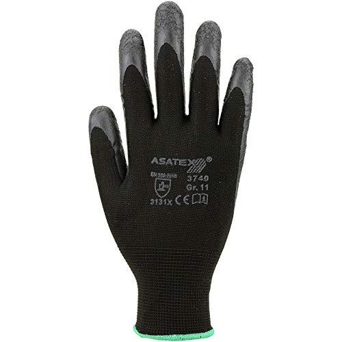 ASATEX 3740 Maurer-Handschuh mit Latex-Beschichtung Schwarz 144 Paar Verpackungseinheit (Paar) VE 144, Größe 11