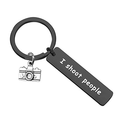 Photographer Gift I Shoot People Keychain Photography Gift Camera Keychain (Shoot Keychain Black)