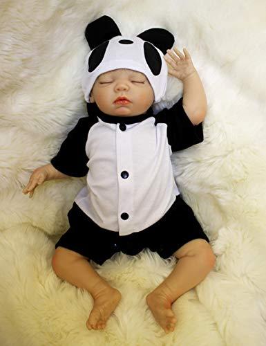 HXUEE Realistico Dormire Bambola Reborn Maschio Reborn Bambino Bambole Reborn Bambolotti di Silicone Babys Dolls Ragazzo Bambini Giocattoli 20 Pollice Panda Outfit