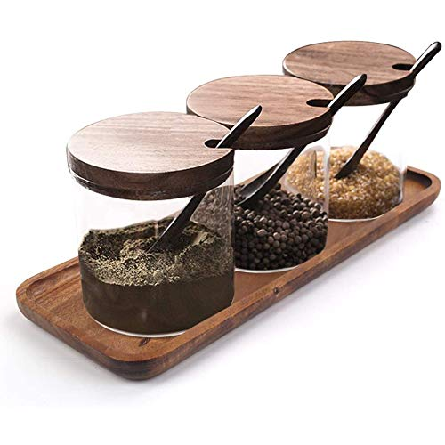 Hovico Condiment Container Seasoning Box Set  with Wooden Spoon Lid and Base  Salt Sugar Spice Pepper Condiment Container Jar Set of 3