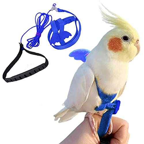 FORZENA Birds Adjustable Harness and Leash, Parrot Outdoor Flying Training Traction Rope Straps with Cute Wing for Small Animal Birds, Parrots, Pigeons, Lizard, Turtles (M,Blue)