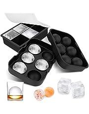 Taca na kostki lodu z pokrywką, 2 opakowania silikonowe formy do kostek lodu, przykryte 6 gigantycznych form do lodu do zamrażarki, jedzenia dla niemowląt, whisky, koktajli, soku