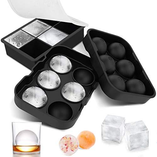 Bandejas para Hielo Silicona con Tapa, Juego de 2 Cubitera Hielo, Molde Cubo Hielo 4.5 * 4.5 cm, Ice Mold para Congelarse Alimentos para Bebe Agua Cola Cócteles Whisky, sin BPA