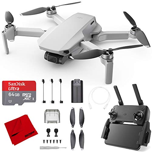 DJI Mavic Mini Quadcopter Drone (CP.MA.00000120.01) with Remote Control and 64GB High-Speed Memory Card and Deco Gear Microfiber Cleaning Cloth Bundle