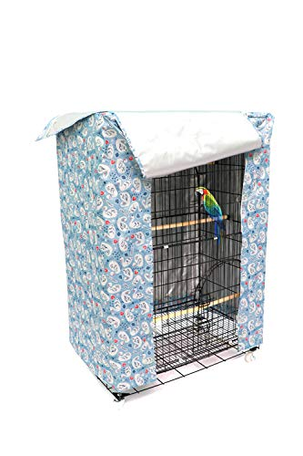 Large Bird Cage Cover Good Night Parakeet Cage Cover Washable Parrot Cage Shield (Blue Medium Size)