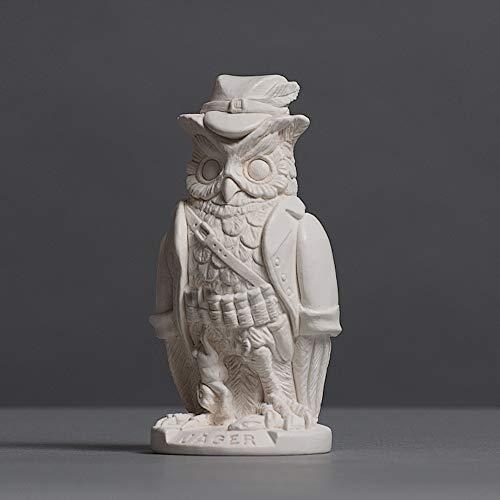 Eule in Jäger-Verkleidung, Skulptur aus hochwertigem Zellan, echte Handarbeit Made in Germany, Figur Geschenkidee, Büste in weiß, 12cm