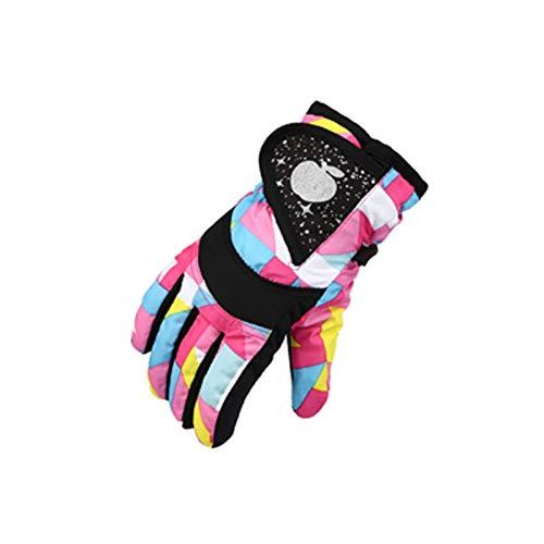 Kinder Skihandschuhe wasserdicht und Winddicht Kinderhandschuhe Jungen und Mädchen Wintersport Wandern mit warmen Handschuhen (Mehrfarbig, 4-7 Jahre alt)