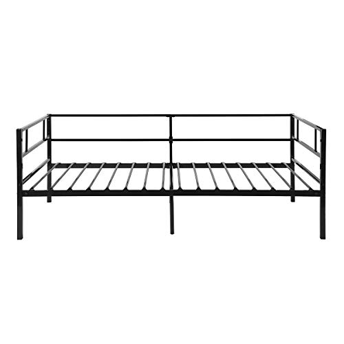 GreenForest Daybed Twin Size Bed Frame with Headboard and Stable Steel Slats Mattress Platform Base Boxspring Replacement Sofa Bed, Black