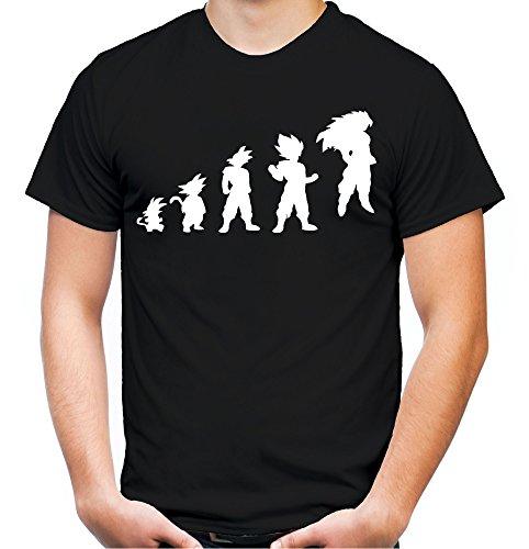 Evolution Son Goku Männer und Herren T-Shirt | Spruch Manga Comic Gym Geschenk (XL, Schwarz)