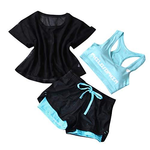 TIMEMEAN Trainingsanzüge Damen Dreiteilig Einstellen Fitness Laufen Kurz Yoga Anzug