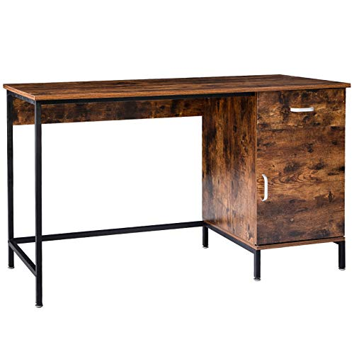 """IBUYKE 51"""" Industrial Computer Desk, Office Desk with Drawer and Cabinet, Writing Workstation for Home Office, Study Writing and Gaming, Space Saving, Easy Assembly, Rustic Brown and Black, TMJ055H"""