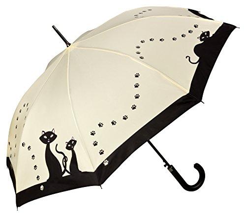 VON LILIENFELD Regenschirm Automatik mit Tiermotiv Schwarze Katzen