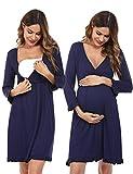 Doaraha Camisón Lactancia Algodón Mujer Ropa de Dormir Premamá Hospital Vestido de Maternidad Embarazo Pijama Embarazadas Camisones Embarazada Manga Corta 3/4 Suave (Azul, L)