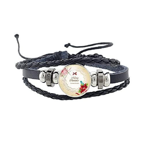 Tendencia Regalos de Navidad Redondo Cabujón de Cristal Negro PU Brazaletes Pulsera Botón de la Joyería
