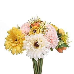 AILANDA 2Bundles Artificial Sunflowers Bouquet Silk Rose Hydrangea Stems Flower Arrangement Fake Yellow Daisy Wildflowers Greenery Shrubs for Wedding Bridal Bouquets Table Centerpieces