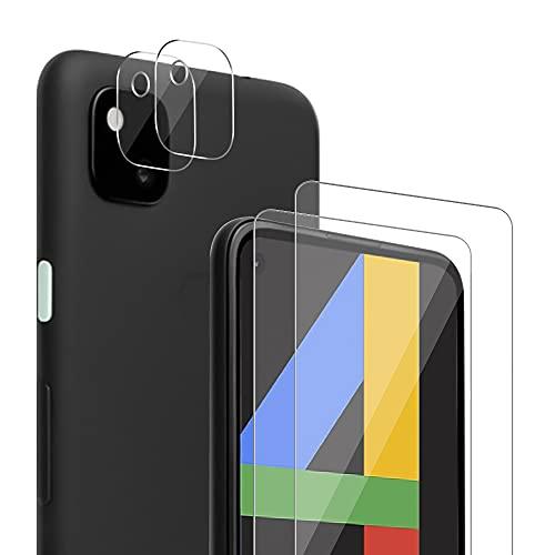 Zinking [4 Stück] Panzerglas Schutzfolie Kompatibel mit Google Pixel 4A 4G, 2 Bildschirmschutzfolien & 2 Kamera Folien, Blasenfrei Panzerglasfolie, HD klar Folie, Gehärtetes Glas