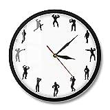 Bodybuilders Diseño Minimalista Gym Reloj de Pared Fitness Center Decoración de Pared Profesional Ejercitarse Fitness Bodybuilding Regalo Hecho a Mano-Metal_Frame