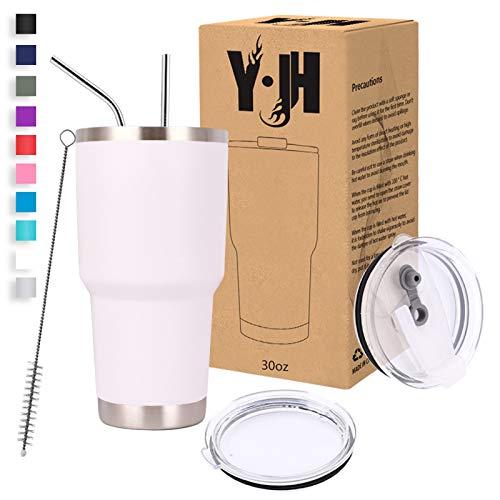 Y·J&H 30oz (850ml) Doppelwandig Vakuum Isolierter Autobecher, Edelstahl Reiseflasche, Thermobecher Kaffee to Go mit 2 Spritzfestem Deckel 2 Strohhalm, Rohrbürste,BPA Free - Weiß