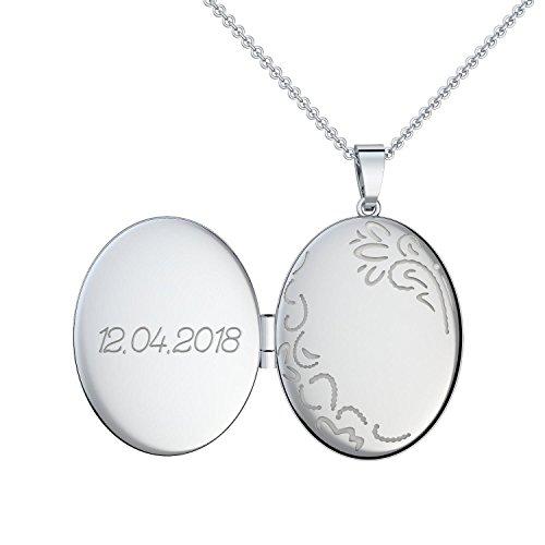 Gravur Kette Silber 925 Medaillon + inkl. GRATIS Luxusetui + Kettenanhänger mit Gravur persönlich individuell gestalten 925er Anhänger beidseitig gravierbar Silberkette zum Öffnen FF103-10 SS92545